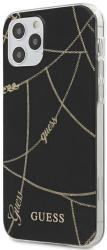 GUESS IPHONE 12 / IPHONE 12 PRO 6,1 GUHCP12MPCUCHBK BLACK HARD BACK COVER CASE GOLD CHAIN COLLECTION
