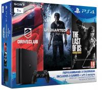 Sony PlayStation 4 Slim D Chassis 1TB & Driveclub & Uncharted 4 A Thief`s End & The Last of Us Remastered (PS4)